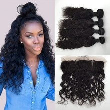 Eurasian Water Wave With Closure Ear To Ear Lace Frontal Closure With 4 Bundles Russian Hair With Closure