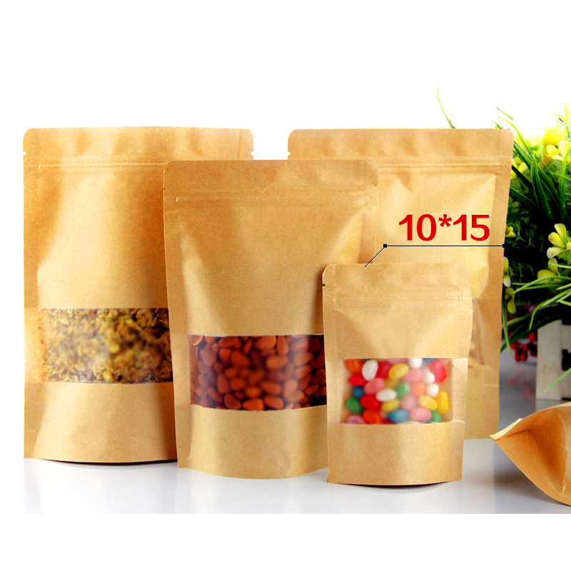 100pcs/lot 10cm*15cm+3cm*140micron Food Packaging Bags Stand Up With Zipper Lock Bag Paper Food Packaging Bags(China (Mainland))