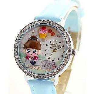 2015 Mini Word Quartz DIY 3D Big Eye Girl Polymer Clay Watches Women Dress Wristwatches Brithday Festival Gift MN626