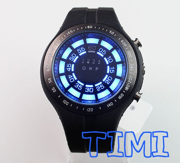 wholesale Rubber Blue Binary LED Watch Mens Diving Sport Clock 30M Waterproof Watch(China (Mainland))