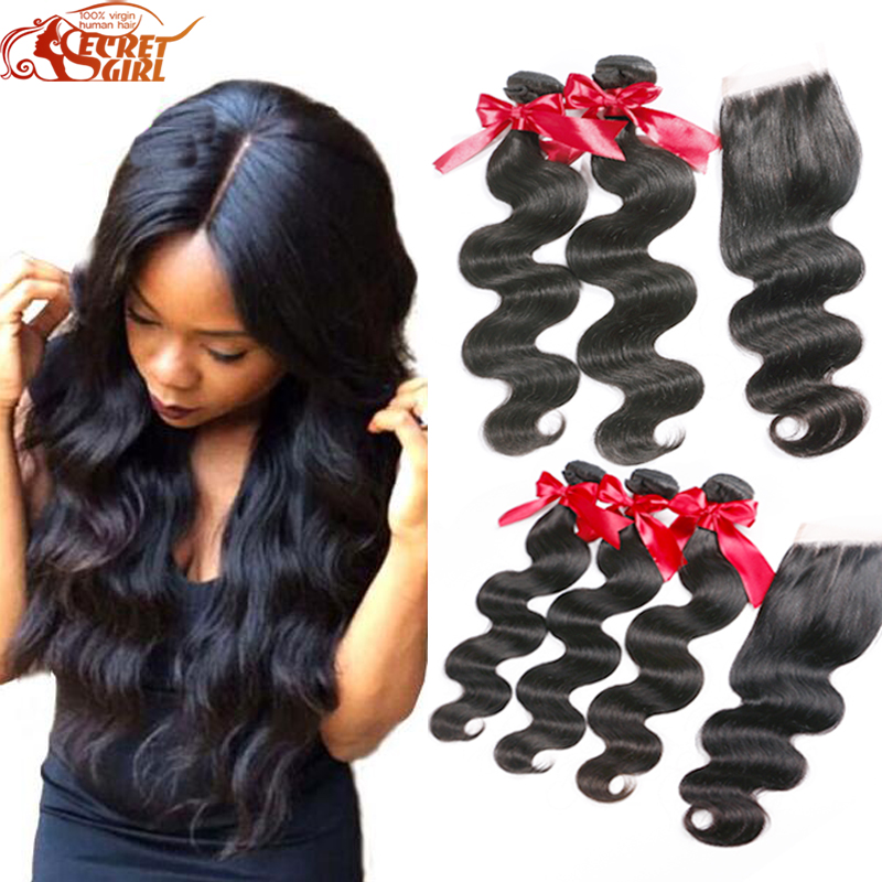 5pcs Lot Peruvian Body Wave With Closure Rosa Hair Products With Closure 4 Bundle Peruvian Virgin Hair With Lace Closure<br><br>Aliexpress
