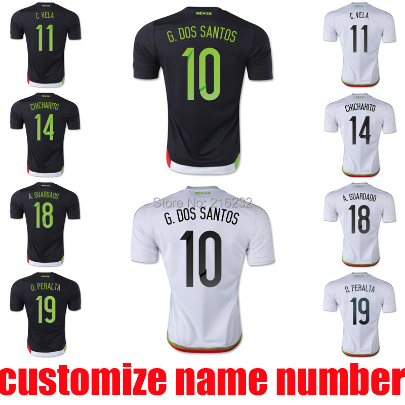 2015 mexico home away soccer jerseys mexico thai quality 15 16 G DOS SANTOS CHICHARITO O PERALTA C VELA football uniform t shirt(China (Mainland))
