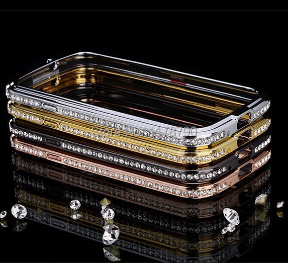 Fashion Crystal Rhinestone Diamond Bling Metal Bumper Case Cover Samsung Galaxy S3 S4 S5 Note 2 3 4 Gold 3D Women Girls - New Best Global Trading Co.,Ltd store