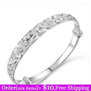 Hot Sale High Quality Gift 925 Silver Sterling Gold Plated Snow Carved Alloy Bangle Wholesale