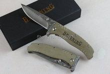 Envío gratis Browning F107 damasco cuchillo táctico exterior supervivencia cuchillos camping herramientas de bolsillo plegable mango del cuchillo G10