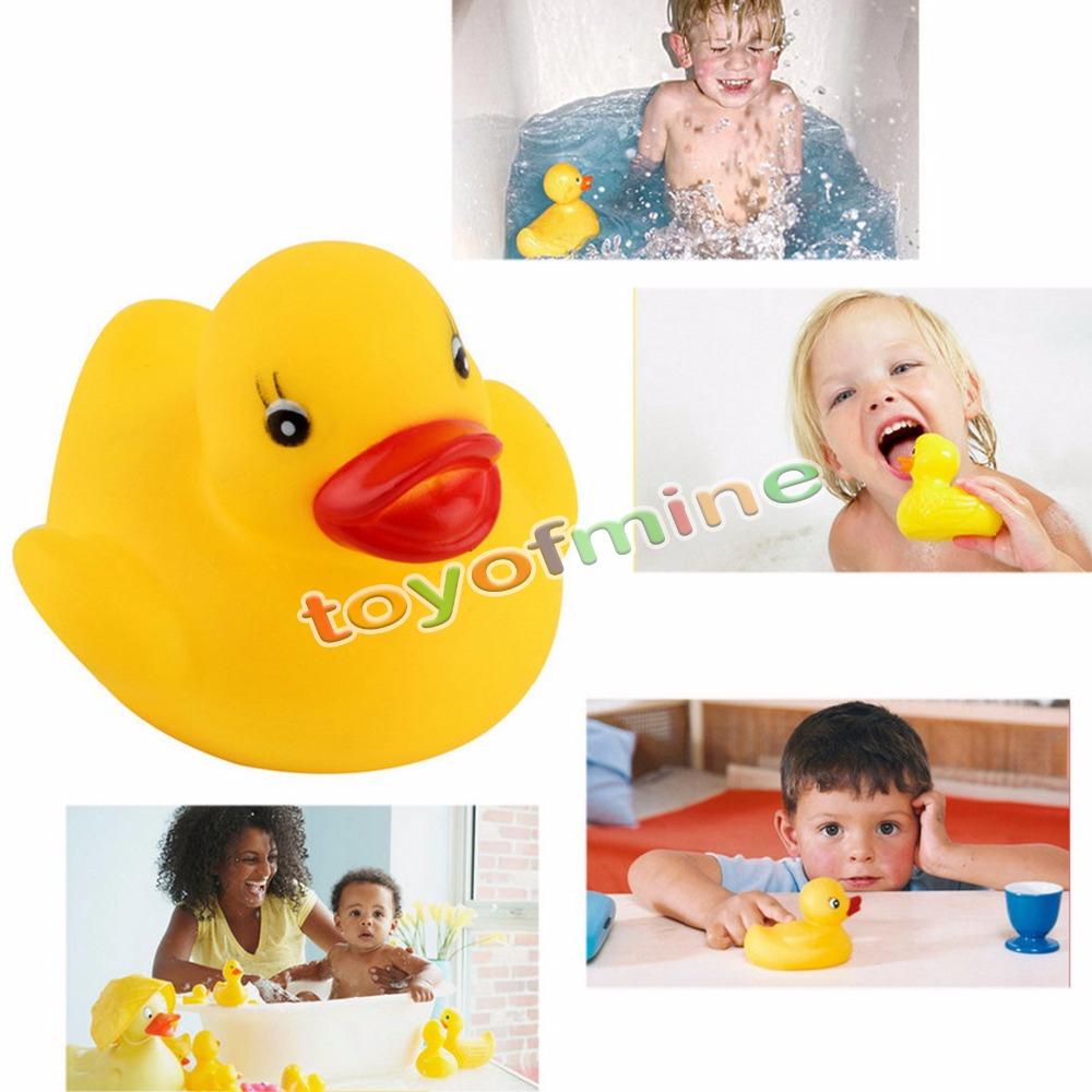 20 x Yellow Cute Rubber Race Squeaky Duck Ducky Baby Kids Children game(China (Mainland))