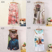 [Ada] 2016 newest style sleeveless o neck 3D t shirt women Animal/flowers one side printed tees one size A22-A35 free shipping(China (Mainland))