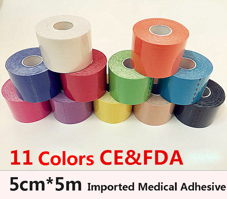 11Colors 5CM*5M Protect Leggings Tape Kinesio Elbow Kneepads Elastic Bandage Knee Tactical Pad Support Kinesiology Adhesive Tape(China (Mainland))