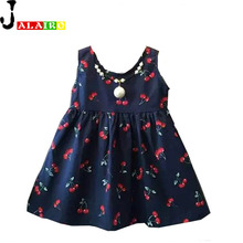 Baby Girl Dress Kids Teenagers Sleeveless Print Pattern Cotton Dresses Fashion Summer Girls Dress Cotton Party  Kids Dresses 2-7