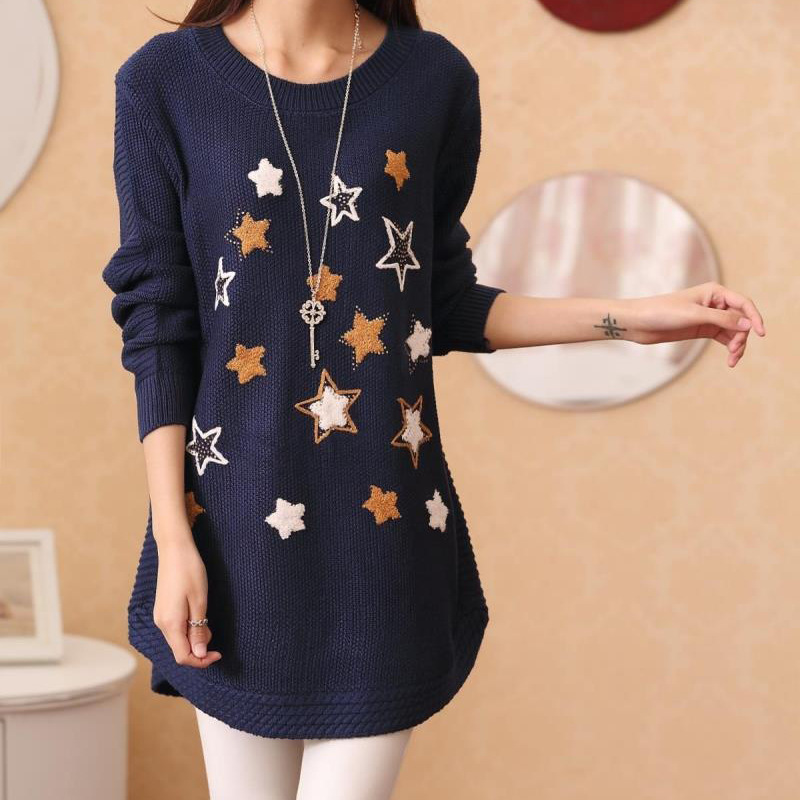 2015 New autumn and winter women's basic round neck loose long-sleeved stars pattern long sweaters pullovers female(China (Mainland))