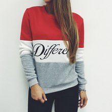 Hot 2015 women pullover hoodies letters Diffferent printed mix color casual sweatshirt women fleece sweatshirts
