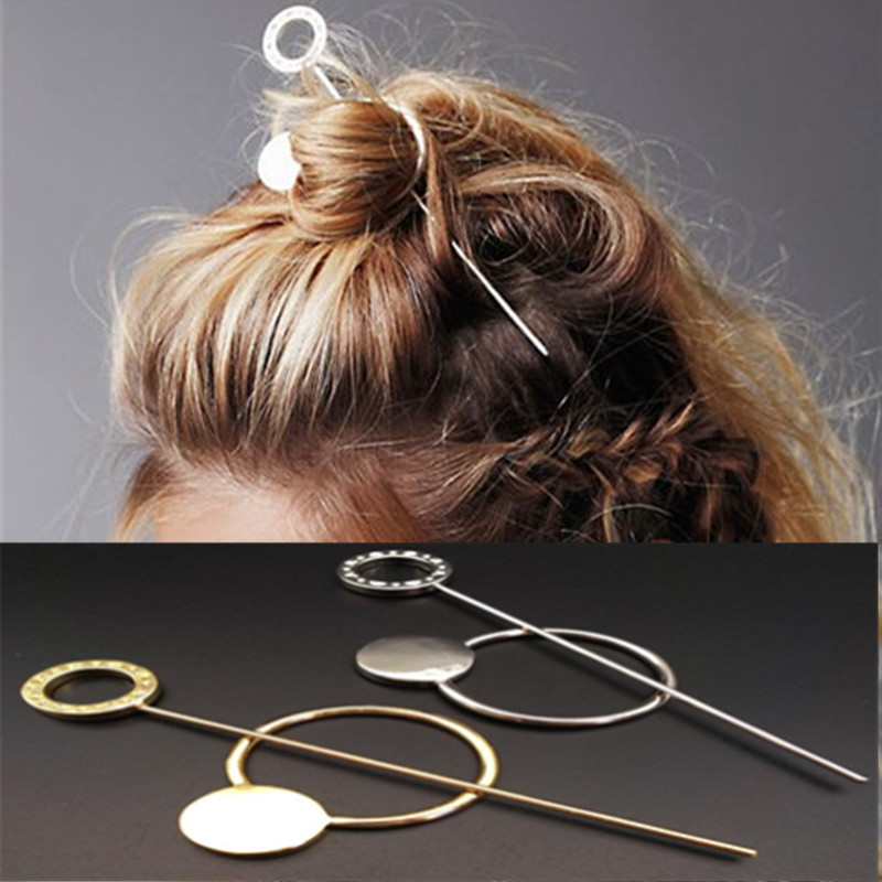 Fashion Designer Gold Silver Hair Comb Metal Circle Hair Clasp Jewelry Hair Sticks for Women Accessories Varas de Cabelo(China (Mainland))