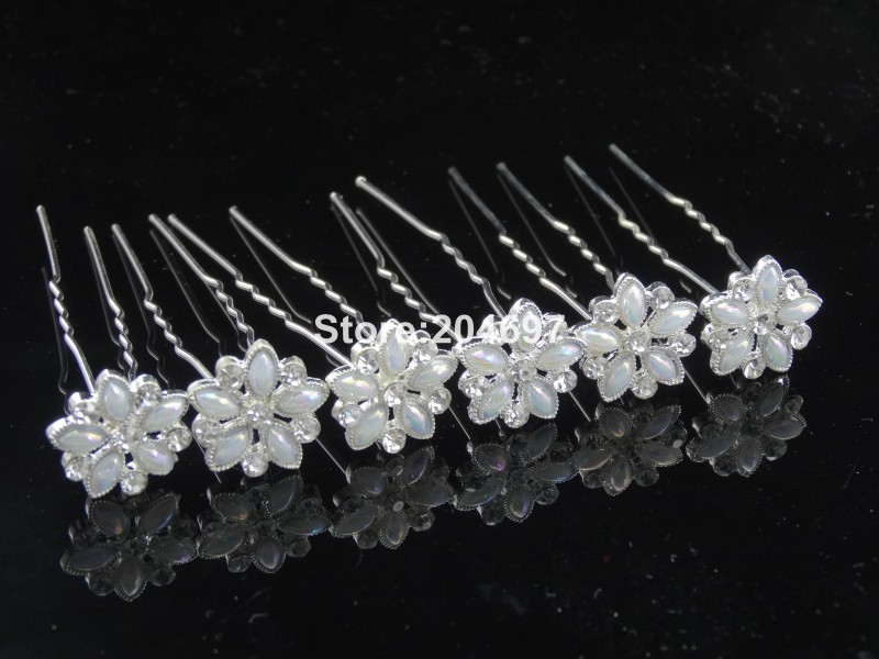 200pcs/lot Hot Selling Pearl White Crystal Flower Wedding Bridal Hair Pins Clips Hair Accessories Wholesale