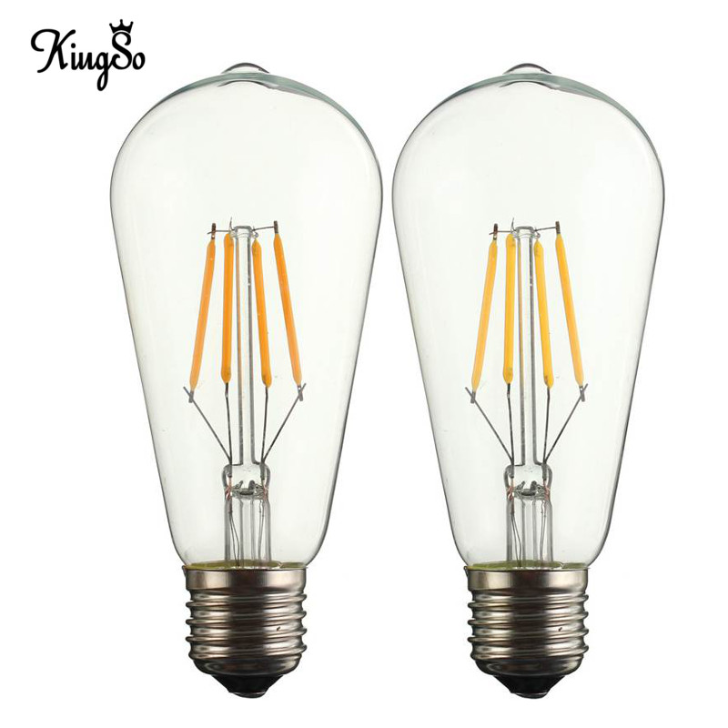 Kingso E27/E26 ST58 4W COB LED Filament Light 400Lumen Edison Vintage Retro Antique Lamp Bulb Energy Saving 110V Pure Warm White<br><br>Aliexpress