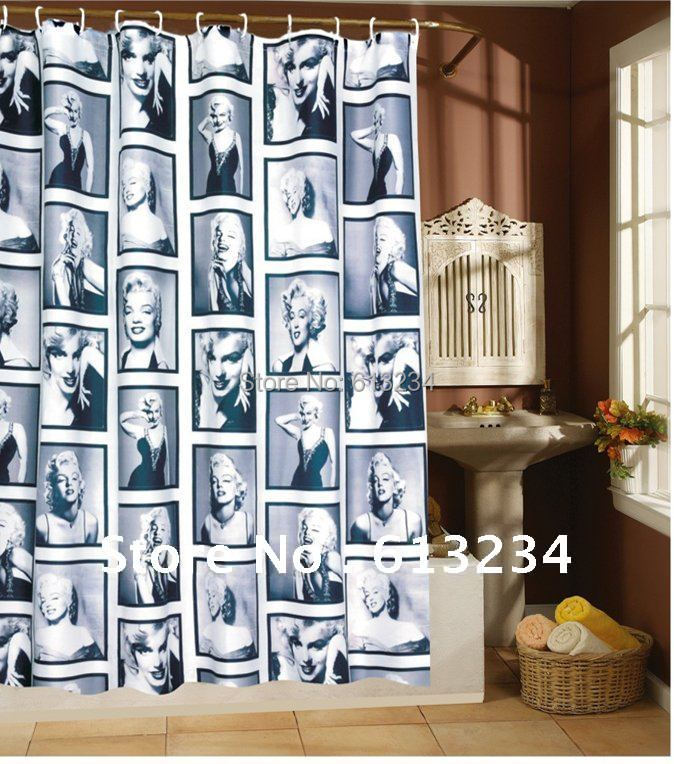 Free shipping 180cm*180cm 71 inch Waterproof Mouldproof Marilyn Monroe Shower Curtain(China (Mainland))
