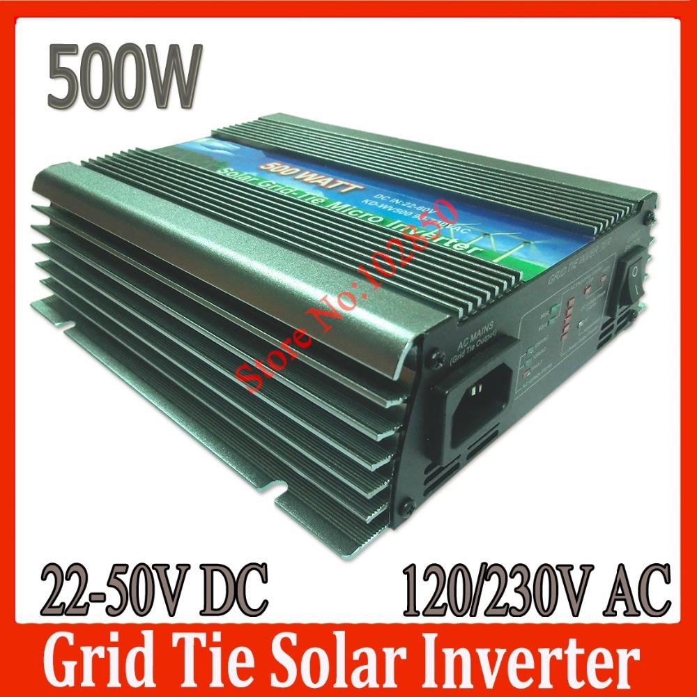 Sale! 500W Solar Grid Tie Inverter, 22-50V DC to 120V or 230V AC Pure Sine Wave solar grid tie inverter CE(China (Mainland))