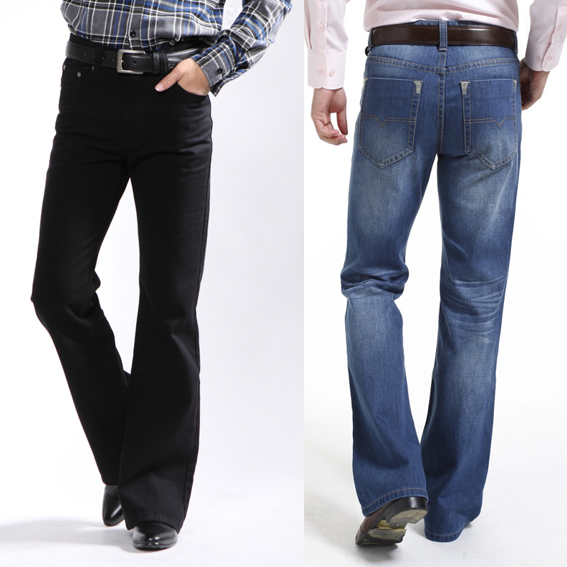 Aliexpress.com  Buy Male boot cut jeans semi flared bell bottom black spring and autumn the ...