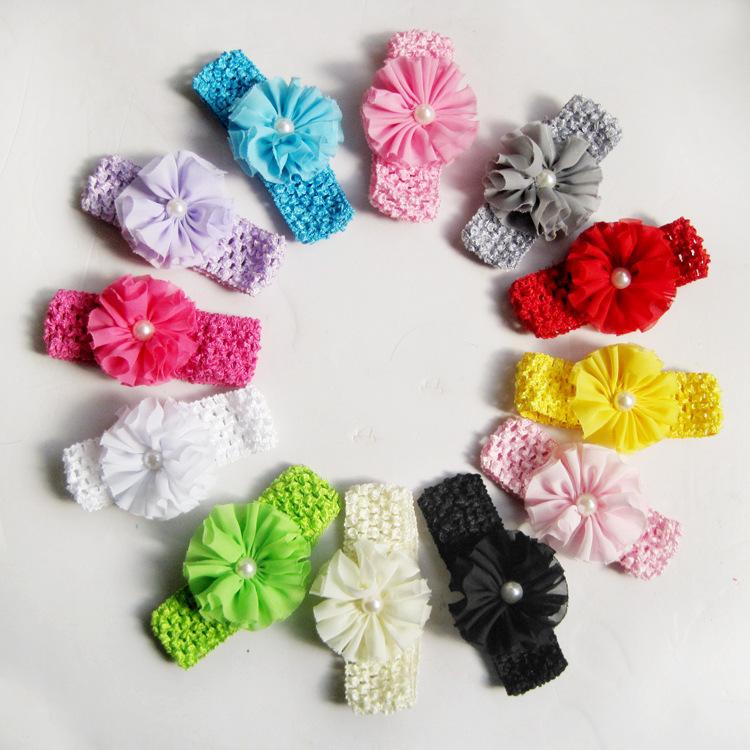 New 2014 Cute Baby Infant Newborn Girls Hair Accessories Crochet Headbands pearl headband Hair Band retail 1pcs(China (Mainland))