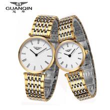Origianl GUANQIN  Top Brand Luxury New Fashion Waterproof Sapphire Mirror Quartz Lovers Watches Steel Body Men Women Watches
