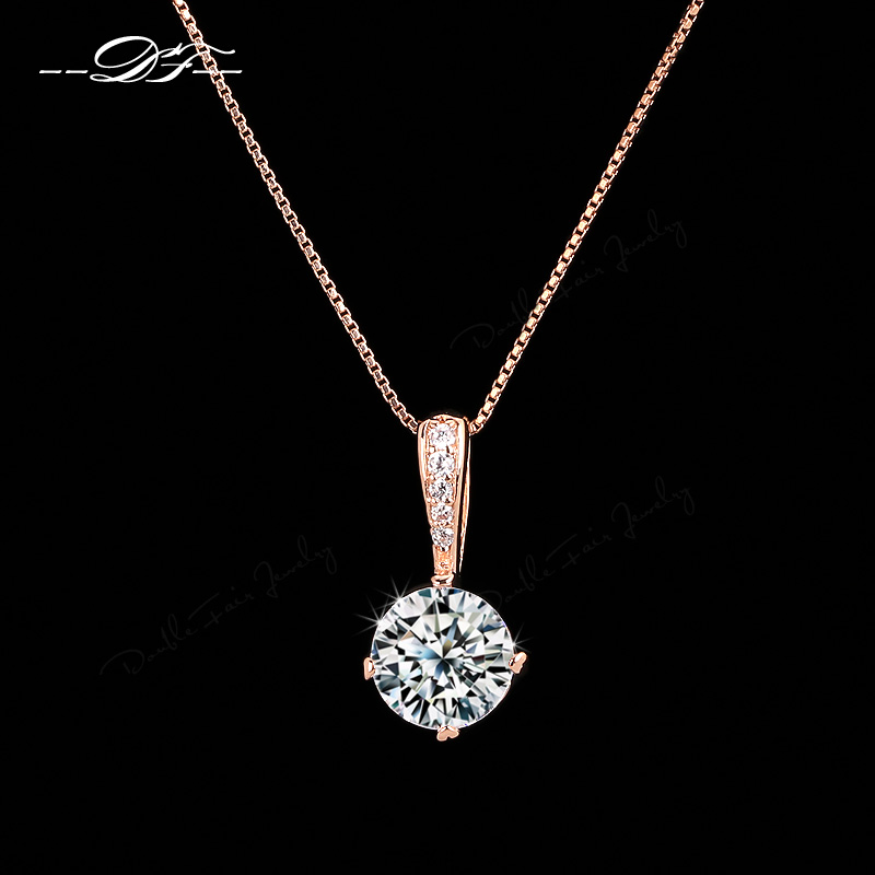 OL Style Cubic Zirconia Chain Necklaces & Pendants 18K Rose Gold Plated Fashion CZ Diamond Wedding Jewelry For Women DFN426M(China (Mainland))