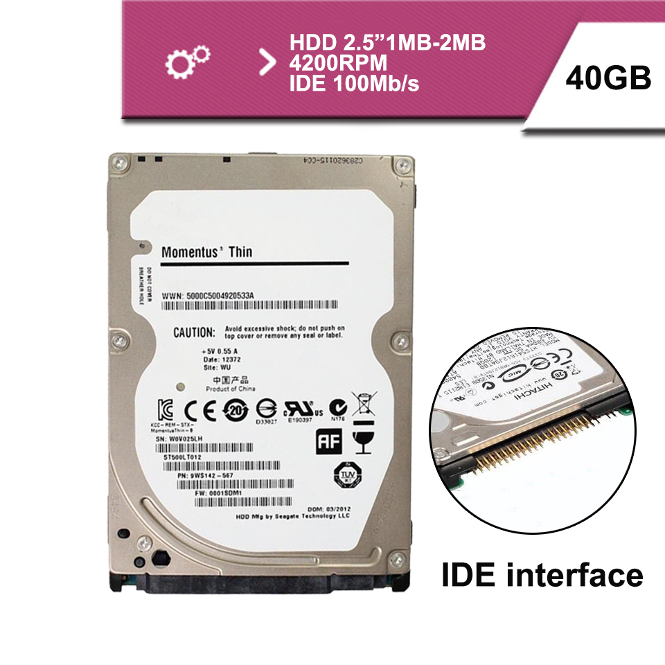 "Brand Sealed 2.5 ""40GB IDE 100MB/s notebook hdd hard disk drive 1mb 4200rpm(China (Mainland))"