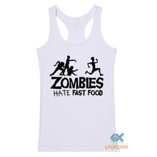 Summer Women Tank Tops Zombies Funny Slogan Top Tees Glowing Swag Sleeveless Bodybuilding stringers Vest Men Women Print GYM Top(China (Mainland))