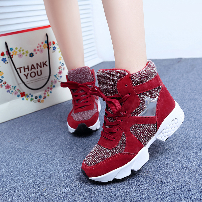 Nilanya The fashion spring and autumn period and the leisure shoes High help lace up sneakers