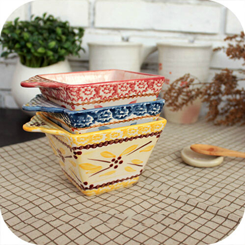 Hand Painted Color Flower Ceramic Bowl Square Sauce Bowls Containers Classic Household Dinnerware 2pcs/lot SH656(China (Mainland))