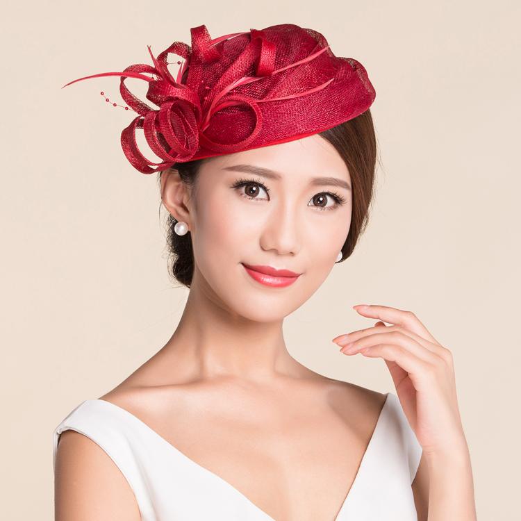 ivory NEW Sinamay Ladies Church Feather Pillbox Hat Wedding Bridal Fascinator MULTI COLORS mint black red(China (Mainland))