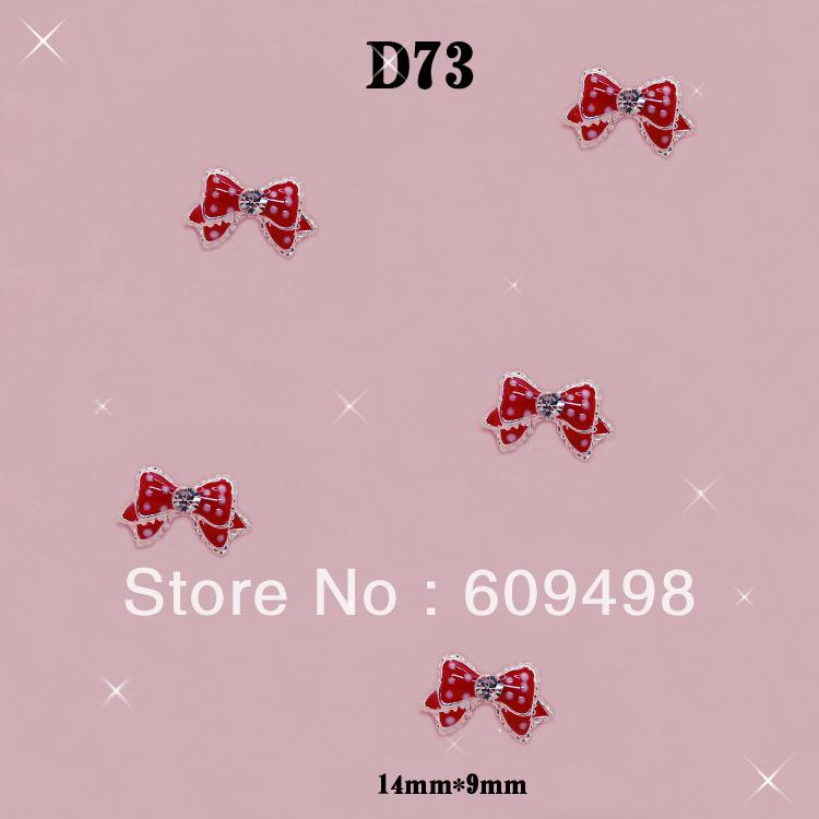 D73 100pcs/lot Beautiful spot red bow tie alloy 3 D diamond nail art art mobile salon yakeli tip beauty DIY design adornment(China (Mainland))