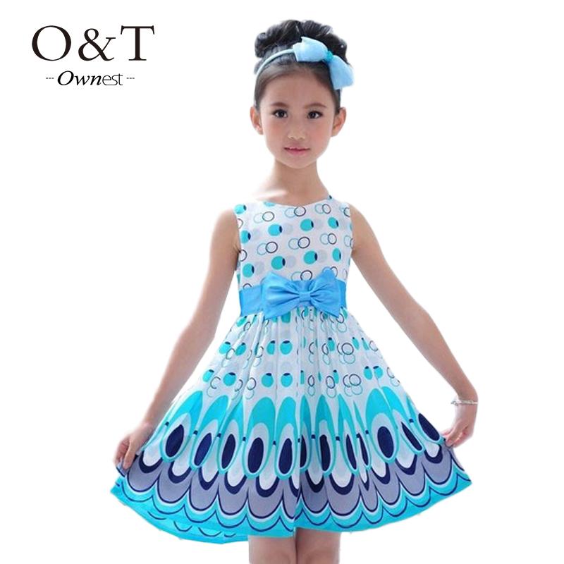 2015 Kids Girls cute peacock color sleeveless princess dress circle children vestidos(China (Mainland))