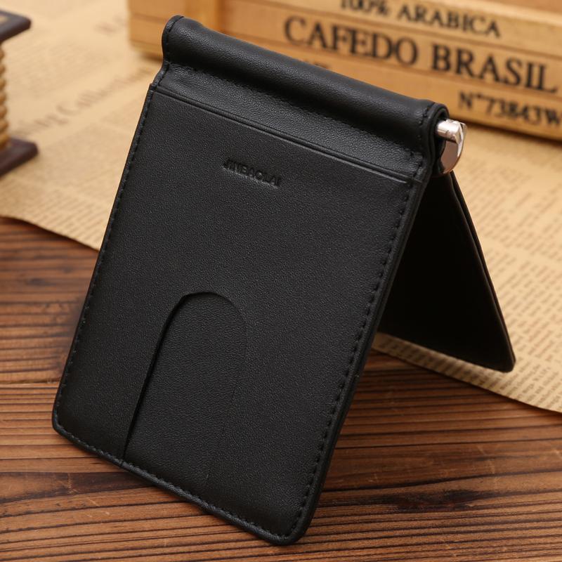 Genuine Leather Money Clip Fashion Stainless Steel Money Clip Money ID Pocket Holder Slim Money Clip Wallets for Men(China (Mainland))