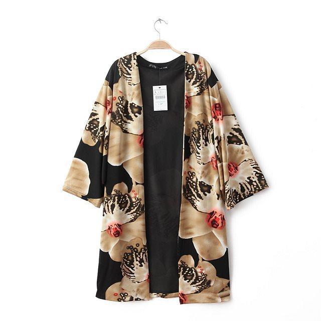 Fashion Sweater Cardigan European style coat cloak loose V-neck shirt printing Three Quarter Sleeve Women's Outwear Women -70345(China (Mainland))