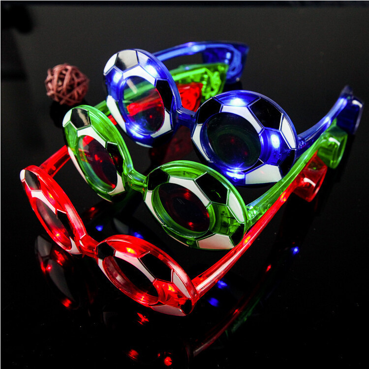 free shipping 25pcs/lot electronic football flashing glasses led glasses fans gifts masquerade mask for world cup party supplies(China (Mainland))