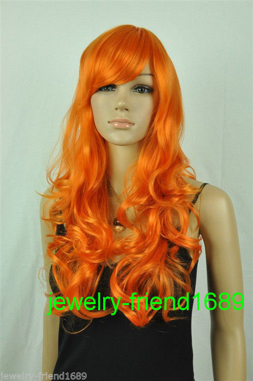 Wholesale heat resistant LY free shipping New font b wig b font long orange Cosplay curly
