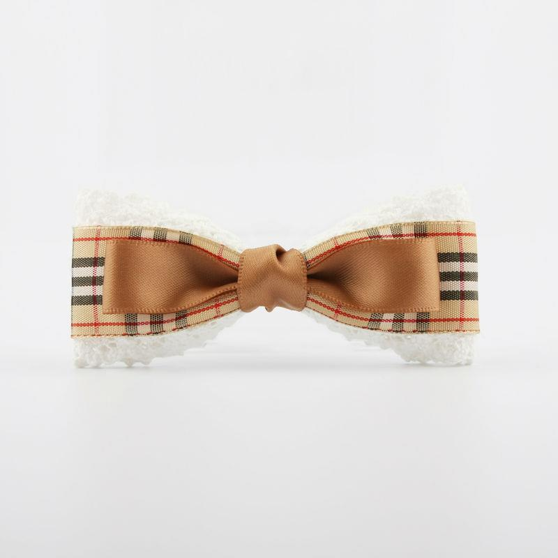 Pastoral Styled Bow Barrette/Bow Hair Clip Plaid Fabric Decorated With a Brown Ribbon Handmade Hair Accessories(China (Mainland))