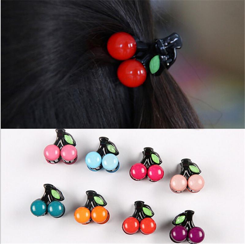High Quality Headwear Cute Cherry Mini Hair Claws Fashion Princess Girls Headwear 1 Pair Free shipping(China (Mainland))