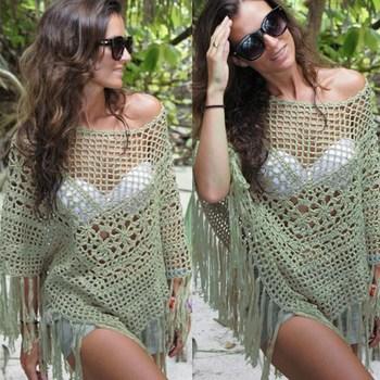 Новый 2015 мода пляж женский сексуальный летом кисточкой купальник мыс пляжное прикрыть крючком выход на пляж экскурсии, женщины одежда для пляжа