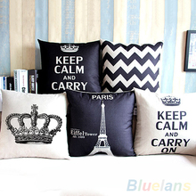 Retro Home Decorative Cotton Linen Blended Cushion Cover Crown Throw Pillow Case