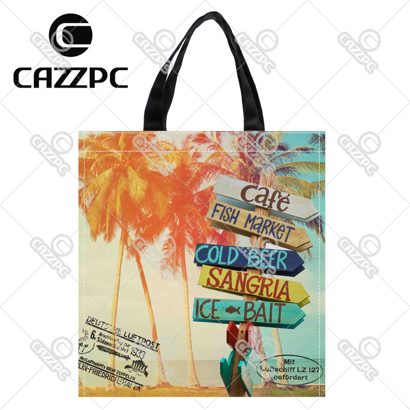 Summer Style Palm Trees at Tropical postcard Print Custom Oxford Nylon Fabric Shopping Storage Grocery bag Pack of 2()