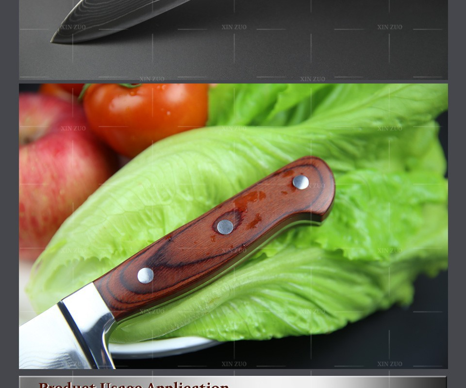 "Buy XINZUO 8"" chef knives high quality fashion Japanese VG10 Damascus steel kitchen knife with color wood handle sharp Free shipping cheap"