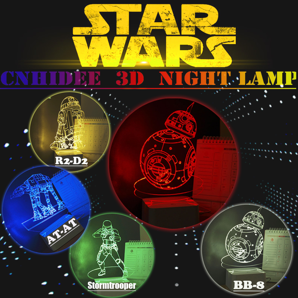 USB Star war 3D Night Light BB-8 D2R2 AT-AT Stormtrooper Led Table Lamp as Home Decor Desk Lamparas de Mesa Creative Gifts<br><br>Aliexpress