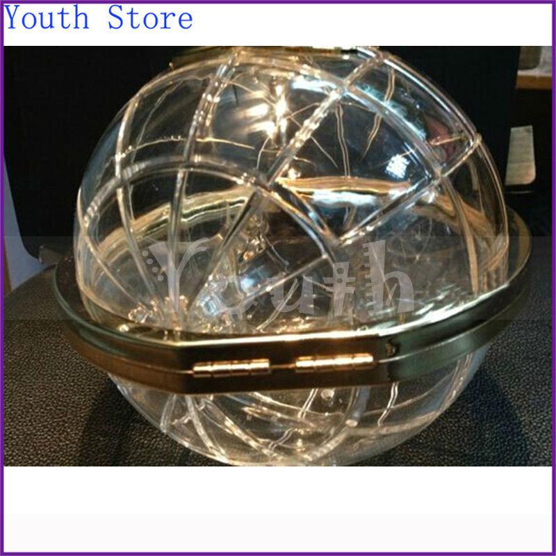 100% Positive Feedback Hot Sale Brand Evening Bags Acrylic Famous Logo Globes Bag Global Handbag Purse Ball Shape Clear Bag A005(China (Mainland))