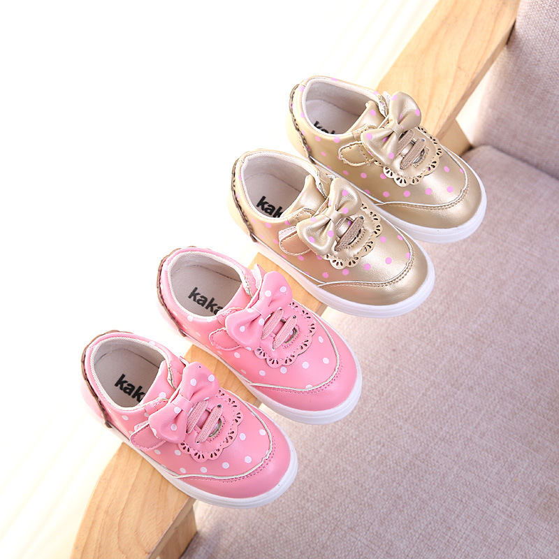 children shoes 2017 spring fashion new pink bow leather waterproof leather boys and girls leisure sport kids shoes running shoes(China (Mainland))