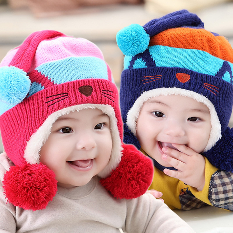 1pieces cap Baby winter hats Suitable 6-36 months old baby hats Cute Cat ear cap Children's Kit Lens Cap Winter Thick Warm Cozy(China (Mainland))