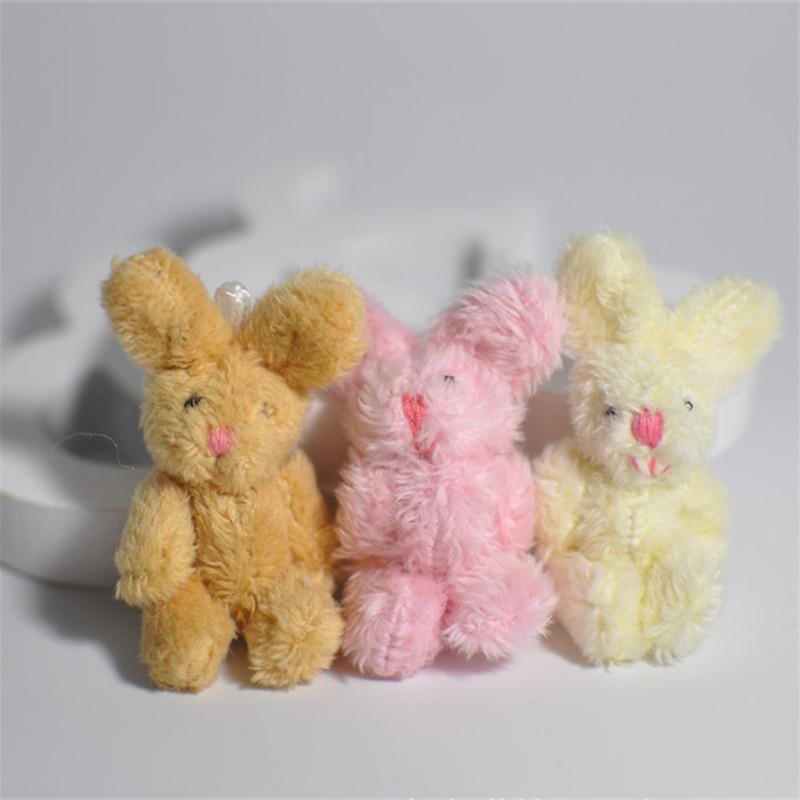 5Pcs/Set Cute Soft Mini Joint Rabbit Pendant Plush Bunny For Key Chain Bouquet Toy Doll DIY Ornaments Gifts Random Color(China (Mainland))