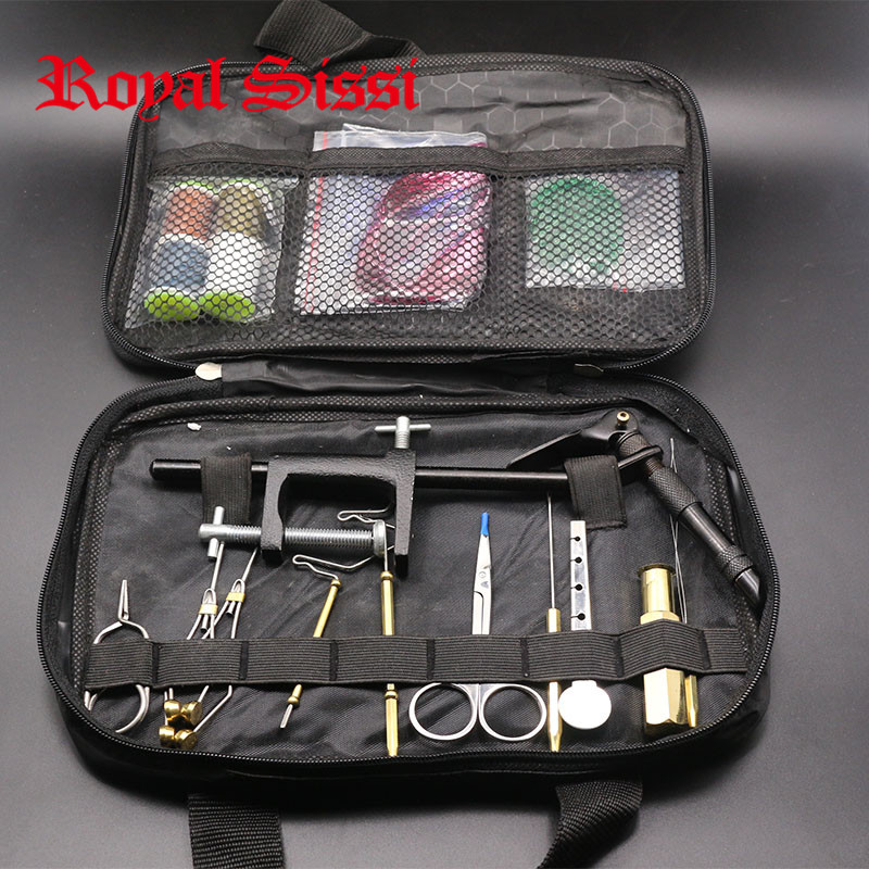 1 Set Fly Fishing Fly Tying Tools Kit in Portable Pack Bag Including Vise bobbin hackle pliers hair stacker bodkin etc.<br><br>Aliexpress
