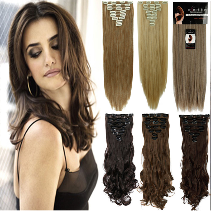 """cheapest real full head clip in on hair extensions Extention straight 23"""" 58CM 8PCS/SET 100% Great Quality Hair Mix Blonde(China (Mainland))"""