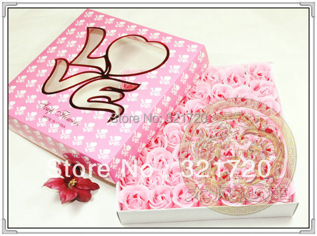 Rose soap flower (49 soap flower in LOVE box) Wedding gift Valentine's day gift Mother's day gift Good packaging(China (Mainland))