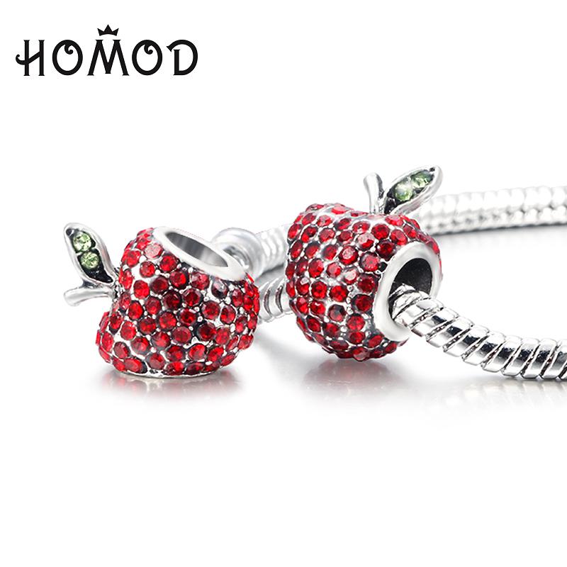 HOMOD Hots Red Apple Silver Plated Zinc Alloy Bead Micro Setting CZ Diamond Charm Bead Floating Fit Pandora DIY Woman Bracelets(China (Mainland))